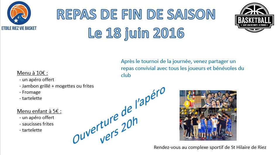 ERVB Tournoi du 18 juin - Repas